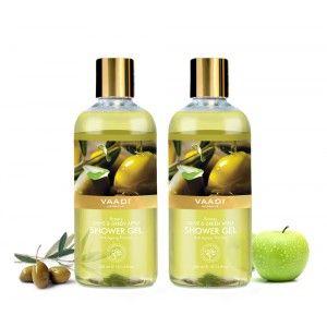 Buy Vaadi Herbals Breezy Olive & Green Apple Shower Gel (Pack of 2) - Nykaa
