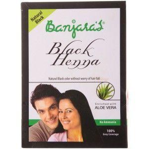 Buy Banjara's Black Henna + Aloe Vera Natural Black (5 Sachets Inside) - Nykaa