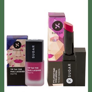 Buy SUGAR Tip Tac Toe Nail Lacquer + It's A-Pout Time! Vivid Lipstick - Mad Magenta (Magenta) Value Set - Nykaa
