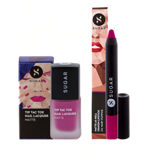 Buy SUGAR Tip Tac Toe Nail Lacquer + Matte As Hell Crayon Lipstick - Mary Poppins (Fuchsia) Value Set - Nykaa