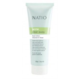 Buy Natio Acne Clear Away Dual Action Cleanser & Toner - Nykaa