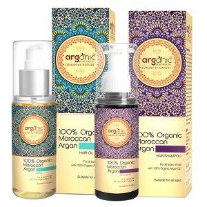 Buy Arganic by Aryanveda 100% Moroccan Argan Hair Oil & Shampoo Combo Pack - Nykaa