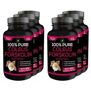 Buy Nutravigour 100% Pure Coleus Forskolin 20% Extract 500mg 6x60 Veg Capsules Weight Management Supplement - Pack Of 6 - Nykaa
