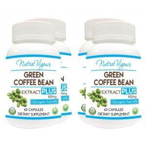 Buy Nutravigour Green Coffee Extract Chlorogenic Acid (GCA) Plus 60% Chlorogenic Acid 60 Veg Capsules 800mg - Pack Of 4 - Nykaa