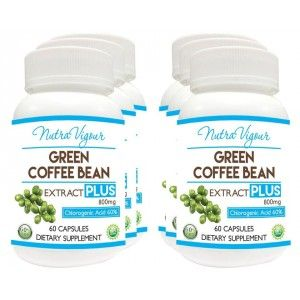Buy Nutravigour Green Coffee Extract Chlorogenic Acid (GCA) Plus 60% Chlorogenic Acid 60 Veg Capsules 800mg - Pack Of 6 - Nykaa