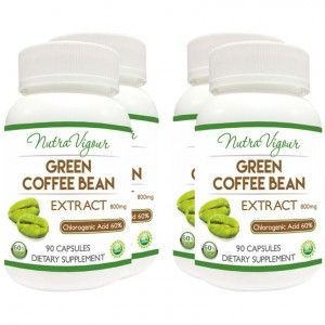 Buy Nutravigour Organic Green Coffee Bean Extract 60% GCA Weight Loss - 90 Capsules 800mg - Pack Of 4 - Nykaa