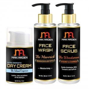 Buy Man Arden Ultra Energetic Day Cream + Face Wash (The Maverick) + Face Scrub (The Woodsman) - Nykaa