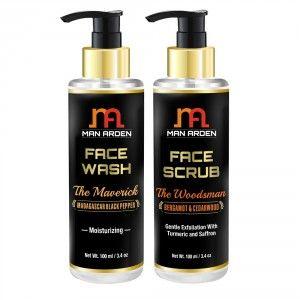 Buy Man Arden Face Wash (The Maverick) + Face Scrub (The Woodsman) - Nykaa