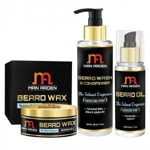 Buy Man Arden Beard Wax + Beard Wash Shampoo + Beard Oil (The Island Emperor Kit) - Nykaa