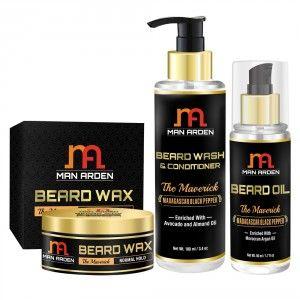 Buy Man Arden Beard Wax + Beard Wash Shampoo + Beard Oil (The Maverick) - Nykaa