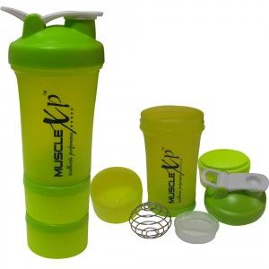 Buy MuscleXP AdvancedStak Protein Shaker (Green & White) with Steel Ball - Design 13 - Nykaa