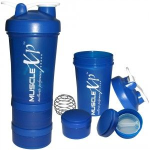 Buy MuscleXP AdvancedStak Protein Shaker (Blue & White) with Steel Ball - Design 14 - Nykaa