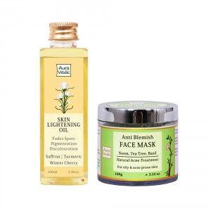 Buy Auravedic Skin Lightening Oil + Anti Blemish Neem Face Mask - Nykaa