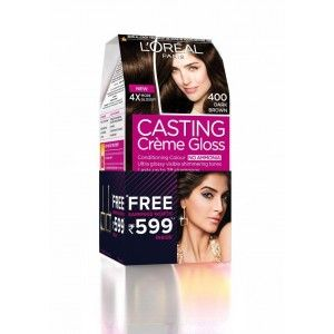 Buy L'Oreal Paris Casting Creme Gloss Conditioning Hair Color - 400 Dark Brown + Free Earrings - Nykaa
