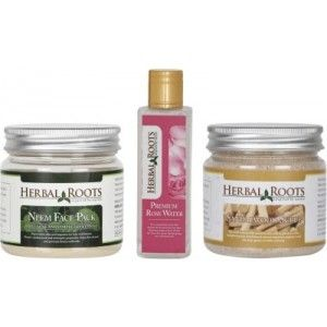Buy Herbal Roots Anti Acne/Pimple Care - Sandalwood Scrub, Neem Face Pack & Rose Water For Face Treatments - Nykaa