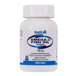 Buy Healthvit Omega 3 Fatty Acids Oil - 60 Softgel Capsules - Nykaa