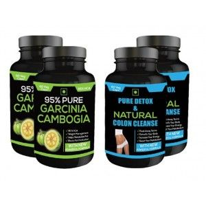 Buy Nutravigour Pure Detox & Natural Colon Cleanse 60 Veg Capsules + Pure Garcinia Cambogia 95% (Hca) 60 Veg Capsules For Weight Loss - Pack Of 4 - Nykaa