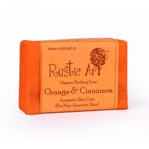 Buy Rustic Art Organic Orange and Cinnamon Soap - Nykaa