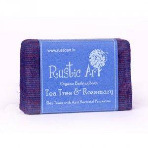 Buy Rustic Art Organic Tea Tree and Rosemary Soap - Nykaa