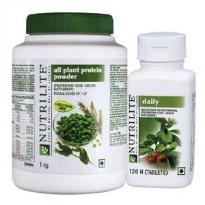 Buy Amway Nutrilite Protein Powder 1Kg & Daily 120 (Combo Of 2) - Nykaa