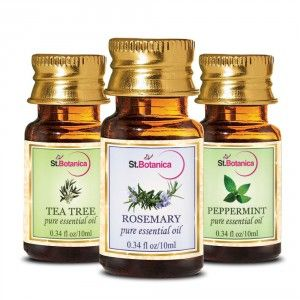 Buy St.Botanica Tea Tree Oil + Rosemary + Peppermint Pure Essential Oil - 10ml x 3 - Nykaa