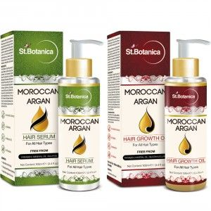 Buy St.Botanica Moroccan Argan Hair Serum + Hair Growth Oil (Combo Pack) - Nykaa