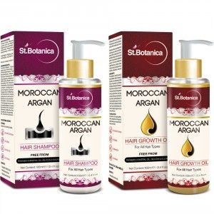Buy St.Botanica Moroccan Argan Hair Shampoo + Hair Growth Oil (Combo Pack) - Nykaa