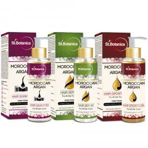 Buy St.Botanica Moroccan Argan Hair Shampoo + Hair Serum + Hair Growth Oil (Combo Pack) - Nykaa