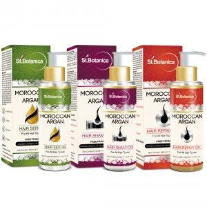 Buy St.Botanica Moroccan Argan Hair Serum + Hair Shampoo + Hair Repair Oil (Combo Pack) - Nykaa