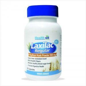 Buy HealthVit Laxilac Regular Psyllium Husk Powder 500mg 60 Capsules - Nykaa