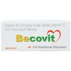 Buy HealthVit Becovit Vitamin B Complex Forte, Biotin, Vitamin C With Folic Acid 100 Tablets - Nykaa