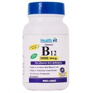Buy HealthVit Vitamin B12 Methylcobalmin 3000Mcg 60 Tablets - Nykaa