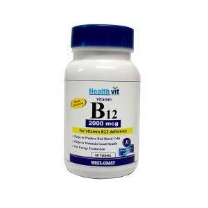 Buy HealthVit Vitamin B12 2000Mcg 60 Tablets - Nykaa