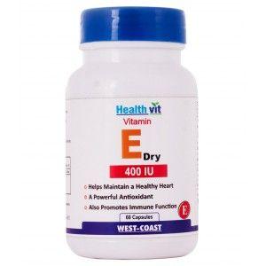 Buy HealthVit Vitamin E Dry 400 IU 60 Capsules - Nykaa