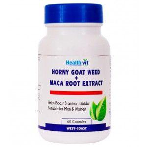 Buy HealthVit Horny Goat Weed + Maca Root Extract 800Mg 60 Capsules - Nykaa