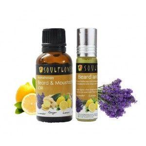 Buy Soulflower Beard And Moustache Oil (30ml) & Roll On (8ml) Combo - Nykaa