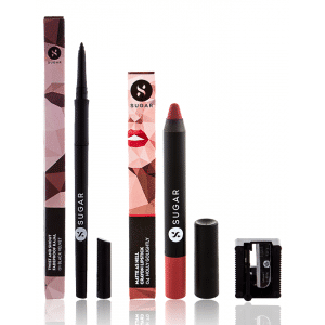 Buy SUGAR Twist And Shout Fadeproof Kajal + Matte As Hell Crayon Lipstick - 04 Holly Golightly (Nude) Value Set - Nykaa