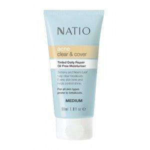 Buy Natio Acne Clear & Cover Tinted Daily Repair Oil Free Moisturiser - Nykaa