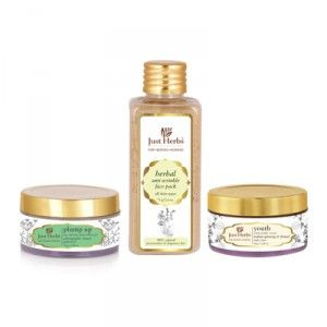 Buy Just Herbs Ayurvedic Age Defying Wrinkle Treatment Kit - Nykaa