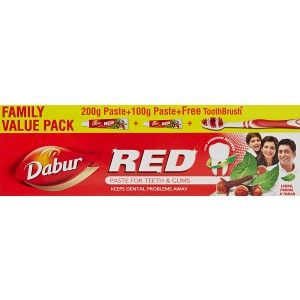 Buy Dabur Red Toothpaste Family Value Pack With Free Toothbrush - Nykaa