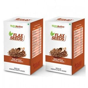Buy NutroActive Flax Seeds Raw Whole Natural Seeds (Pack Of 2) - Nykaa