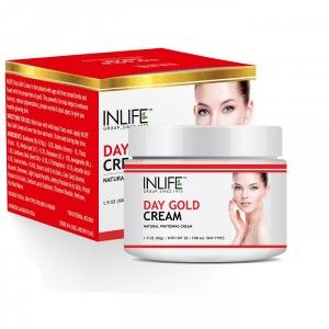 Buy INLIFE Natural Day Gold Cream 50gm With SPF 20 For Skin Whitening & Acne Scars - Nykaa