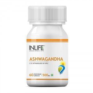 Buy INLIFE Natural Ashwagandha Extract, 500mg 60 Veg Capsules, Stress Reliever - Nykaa