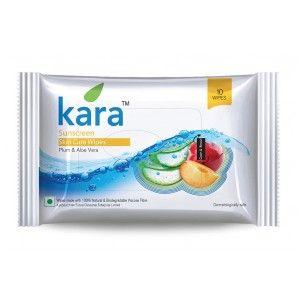 Buy Kara Sunscreen Skin Care Wipes Plum And Aloe Vera (10 Wipes) - Nykaa