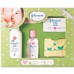 Buy Johnson's Baby Care Collection with Organic Cotton Bib and Baby Comb (5 Gift Items, Green) - Nykaa