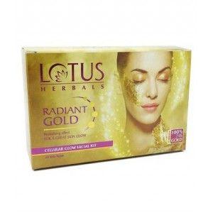 Buy Lotus Herbals Radiant Gold Cellular Glow 4 Facial Kit (Save Rs.135) - Nykaa