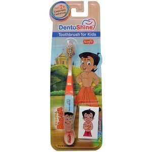 Buy DentoShine Chhota Bheem Comfort Grip Toothbrush For Kids - Orange - Nykaa