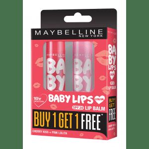 Buy Maybelline New York Baby Lips Buy 1 Get 1 Free - Cherry Kiss + Pink Lolita - Nykaa