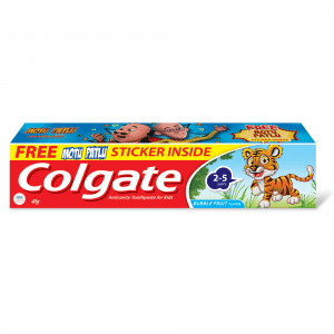 Buy Colgate Kids Toothpaste 2-5 Years Bubble fruit Flavour + Free Motu Patlu Sticker - Nykaa