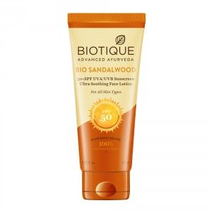Buy Biotique Bio Sandalwood Ultra Soothing Face Lotion SPF 50+ Sunscreen - Nykaa